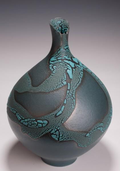 "Bottle Vase, Terra Sigillata, Crawl Glaze, 10 1/2T"" x 7"" W"