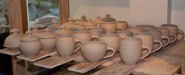 Leather hard Latte Cups, Butter Dishes and Honey Pots