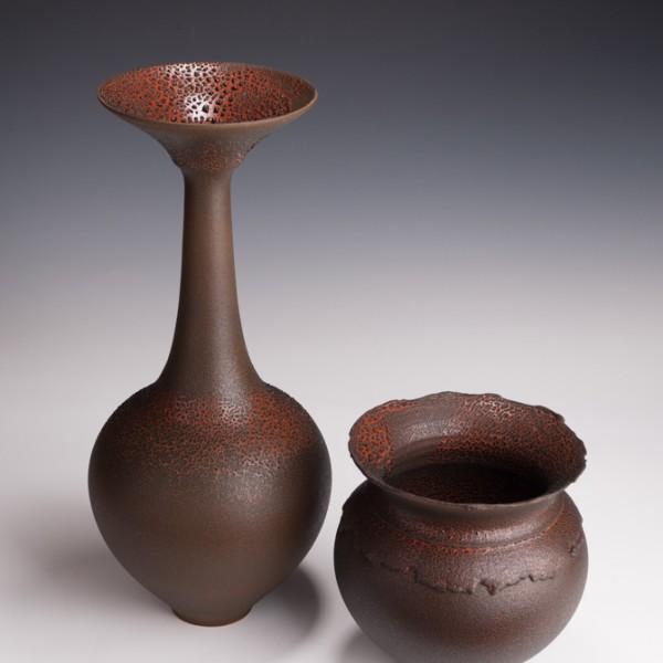 "Vase , 17 3/4"" T , Collared Bowl ,8 1/8"" T x 8 1/2"" W"