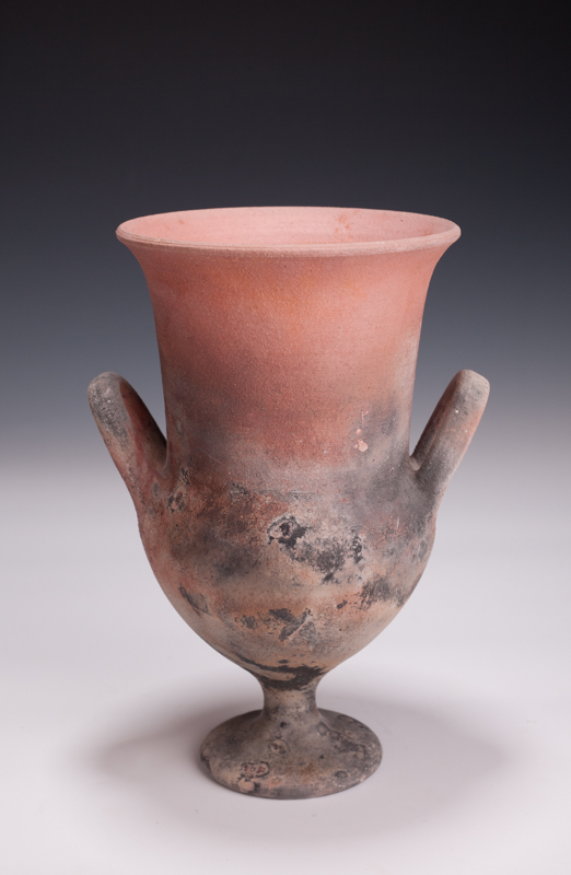 "Krater, saggar fired, 10 1/2"" T, 1988"