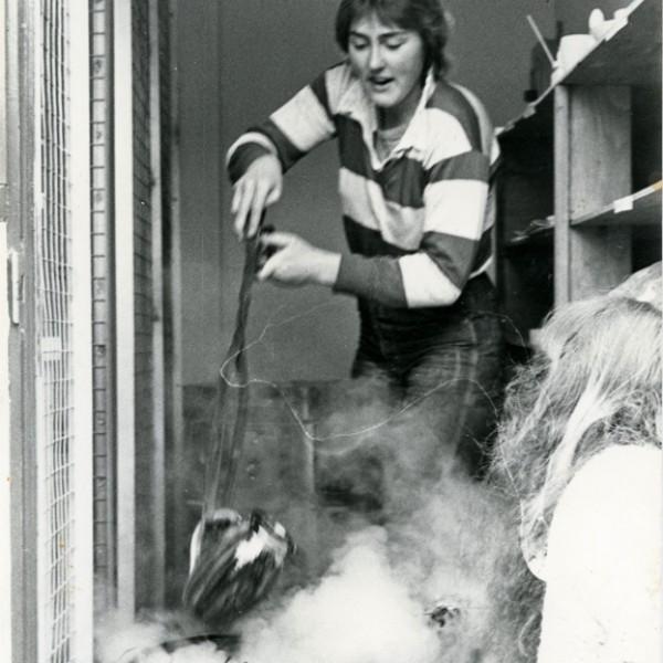 Mary Fox demonstrating Raku at James Bay Community Center, Victoria BC 1981