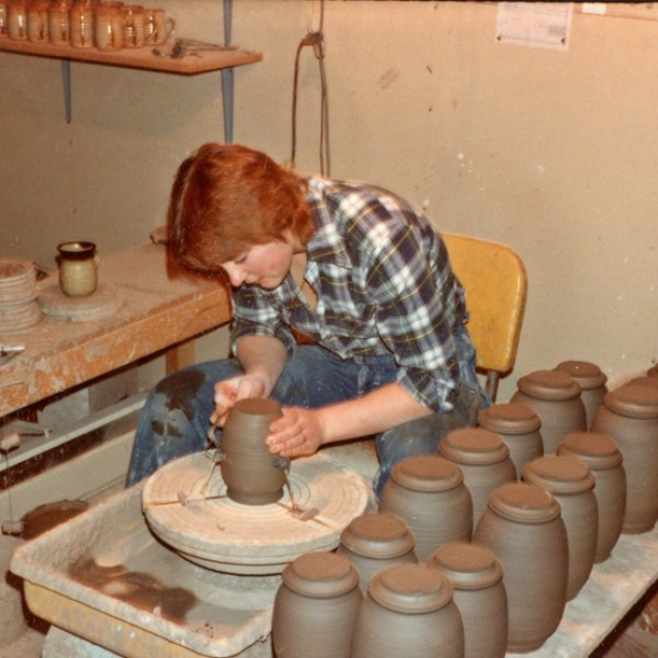 Mary Fox making Cannister sets, James Bay Studio, Victoria BC, 1981