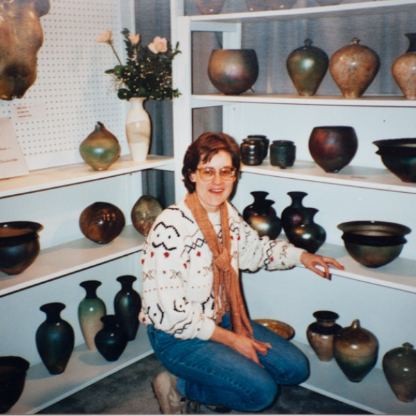 Heather Vaughan, Mary's late partner at the Circle Craft Xmas show in Vancouver, 1988