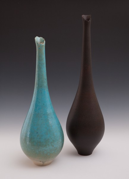"""Bottle Vases by Mary Fox 19"""" T & 22 3/4"""" T"""