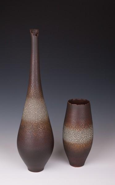 """Bottle Vase & Vessel by Mary Fox, 22 1/2"""" T & 11"""" T"""