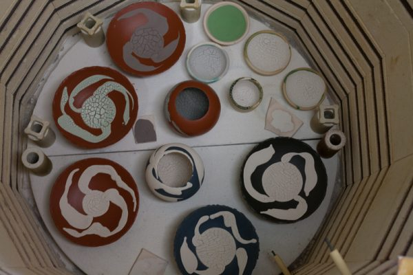 Glaze tests waiting to be fired