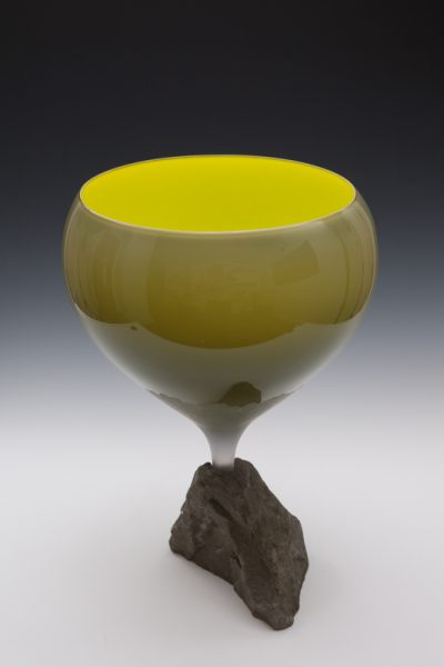 Glass Chalice mounted in rock, 46 cm T x  33cm W